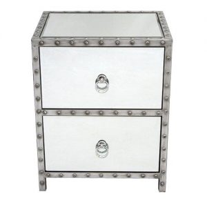 Studded Metal 2 Drawer Bedside Table